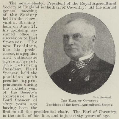 The Earl of Coventry, President of the Royal Agricultural Society