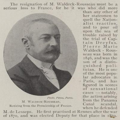 M Waldeck-Rousseau, Retiring from the Premiership of France