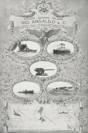 Poster for Ansaldo Shipyards in Genoa, 1912, Italy, 20th Century