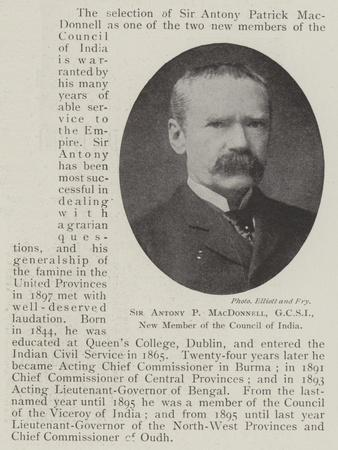 Sir Antony P Macdonnell, New Member of the Council of India