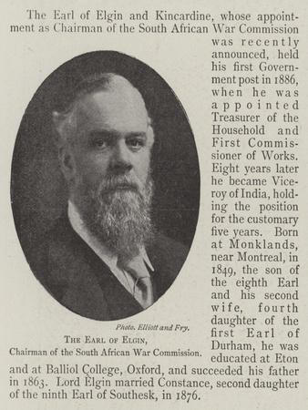 The Earl of Elgin, Chairman of the South African War Commission