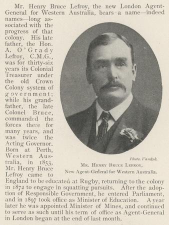 Mr Henry Bruce Lefroy, New Agent-General for Western Australia