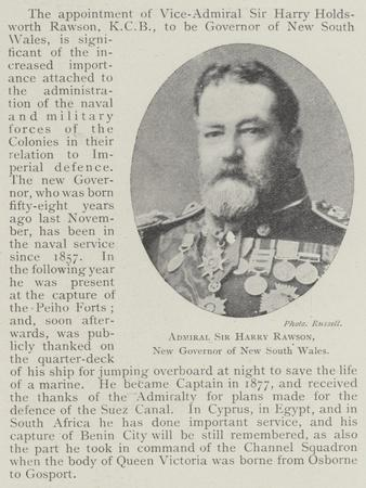 Admiral Sir Harry Rawson, New Governor of New South Wales