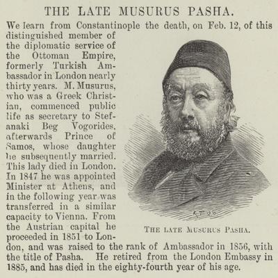 The Late Musurus Pasha