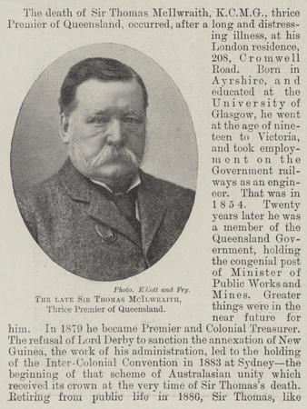 The Late Sir Thomas Mcilwraith, Thrice Premier of Queensland