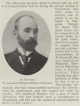 M Kuncheff, the Assassinated Bulgarian Minister of Education