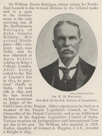 Sir W H Rattigan, New Mp for the Ne Division of Lanarkshire