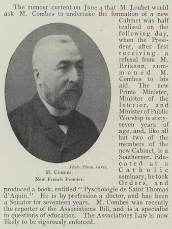 M Combes, New French Premier