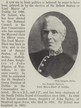 Sir Robert Sexton, Lord Mayor-Elect of Dublin