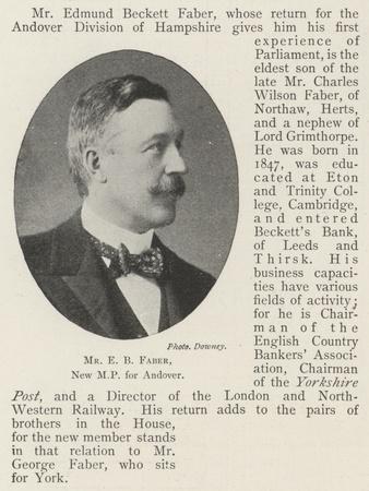 Mr E B Faber, New Mp for Andover