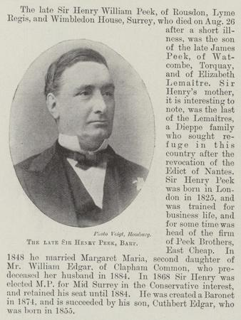 The Late Sir Henry Peek, Baronet
