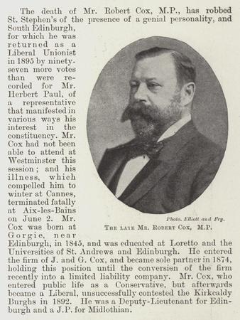 The Late Mr Robert Cox