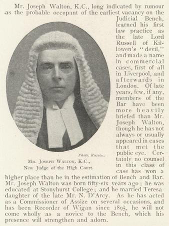 Mr Joseph Walton, Kc, New Judge of the High Court