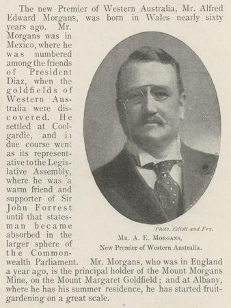 Mr a E Morgans, New Premier of Western Australia