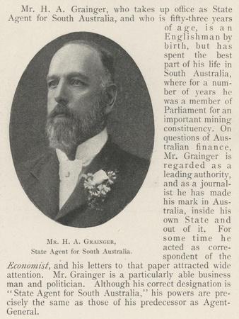Mr H a Grainger, State Agent for South Australia