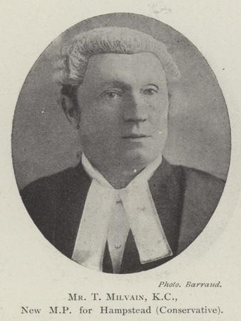Mr T Milvain, KC, New Mp for Hampstead