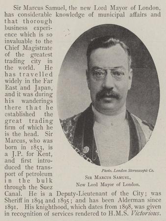 Sir Marcus Samuel, New Lord Mayor of London