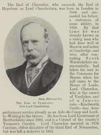 The Earl of Clarendon, New Lord Chamberlain