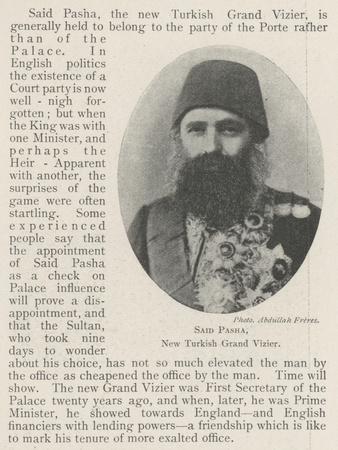 Said Pasha, New Turkish Grand Vizier