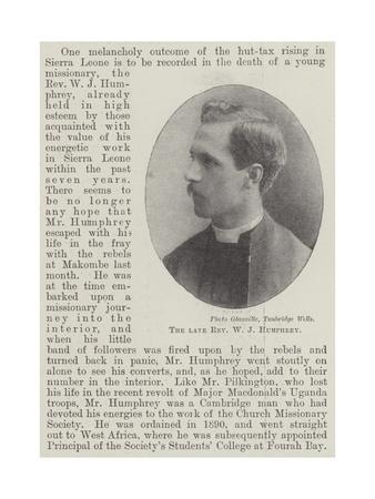 The Late Reverend W J Humphrey