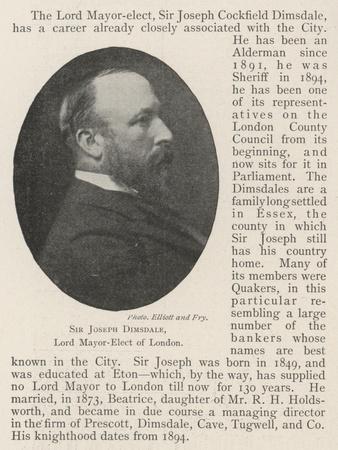 Sir Joseph Dimsdale, Lord Mayor-Elect of London