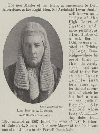 Lord Justice a L Smith, New Master of the Rolls