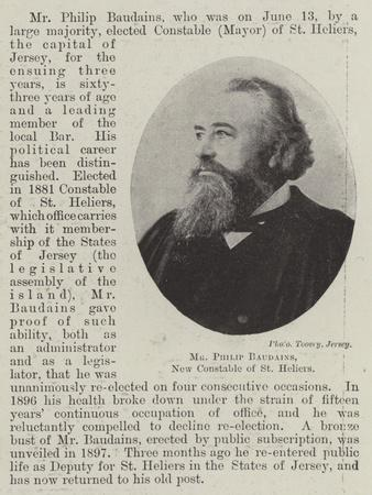 Mr Philip Baudains, New Constable of St Heliers