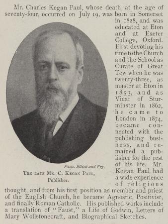 The Late Mr C Kegan Paul, Publisher