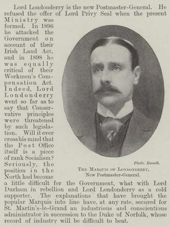 The Marquis of Londonderry, New Postmaster-General