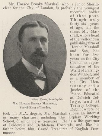 Mr Horace Brooks Marshall, Sheriff-Elect of London
