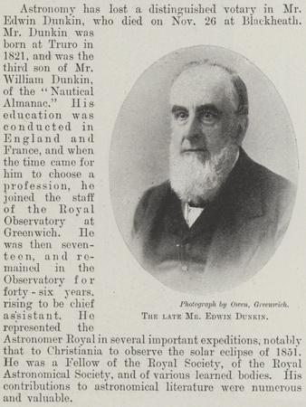 The Late Mr Edwin Dunkin