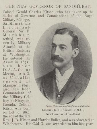 Colonel G C Kitson, Cmg, New Governor of Sandhurst