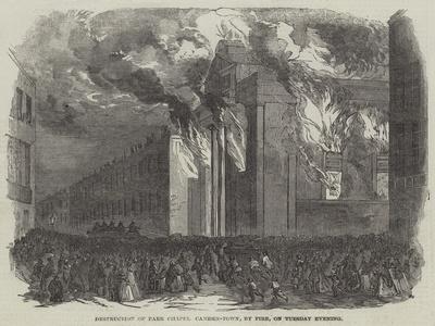 Destruction of Park Chapel Camden-Town, by Fire, on Tuesday Evening
