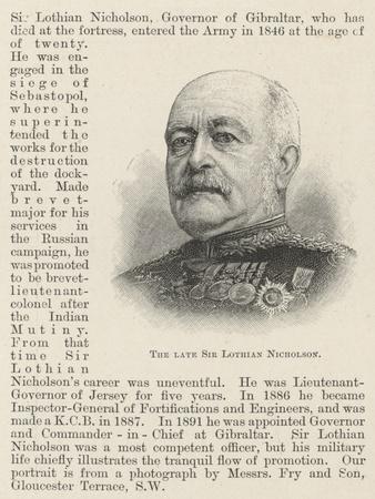 The Late Sir Lothian Nicholson