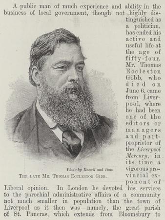 The Late Mr Thomas Eccleston Gibb