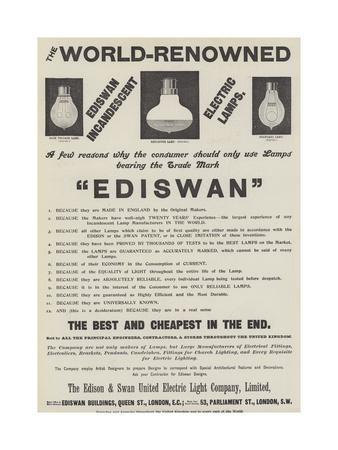 Advertisement, Ediswan Lamps