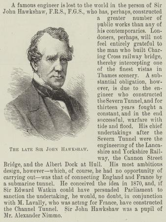 The Late Sir John Hawkshaw