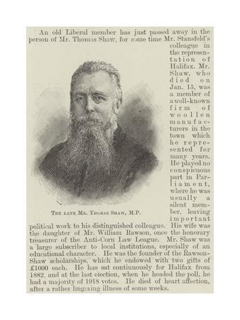 The Late Mr Thomas Shaw