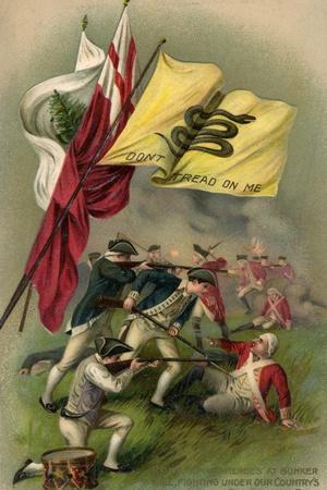 Battle of Bunker Hill with Gadsden Flag, 1899