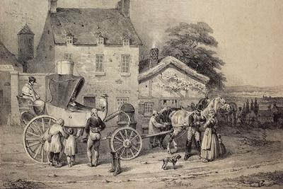 Mail Coach Rest Stop, France, 19th Century