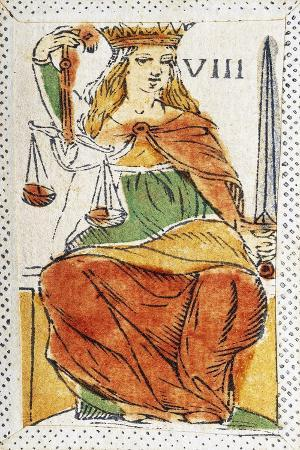 Tarot Card Depicting Justice, 16th Century, Italy