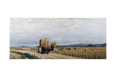 Harvest, Painting by Simone Campanile (1828-1896)