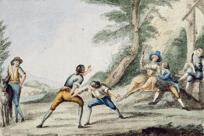 Tuscan Wrestling, Colour, Italy, 18th Century