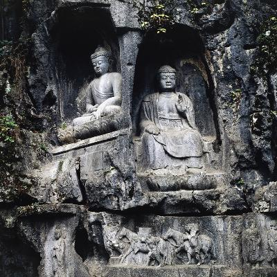 Sculpture of Buddha in Caves of Hangzhou, Chekiang, China