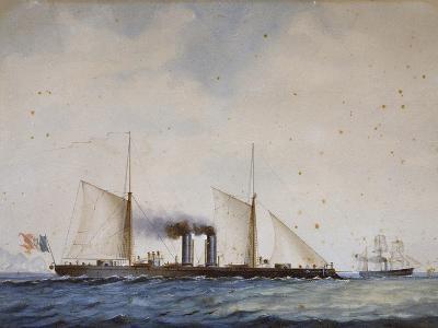 Italian Battleship Affondatore, 1866, 19th Century, Watercolor