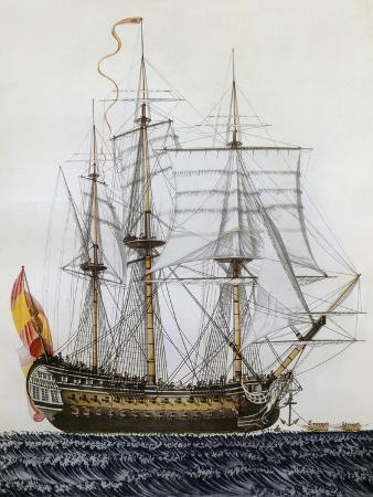 San Telmo, Three-Masted 74-Gun Ship, Spain, 17th Century