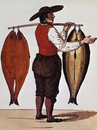 Seller of Smoked Salmon, Print, France, 19th Century