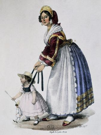 Nanny with Child, Ca 1820, Italy, 19th Century