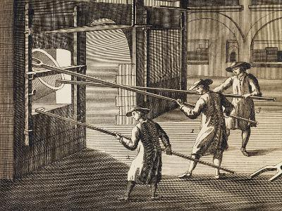 Processing of Molten Glass in Furnace, Italy, 18th Century