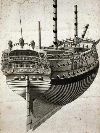 Study for Venetian Ship Seen from Stern, Drawing, 18th Century